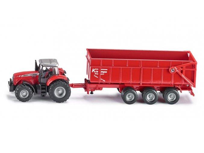 Siku traktor Massey Ferguson s přívěsem 1:87
