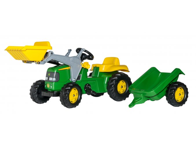 Rolly Toys dětský šlapací traktor John Deere s nakladačem a přívěsem