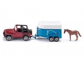 Siku auto Jeep s přívěsem pro přepravu koní 1:87