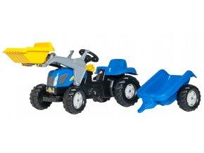 ROLLY TOYS rollyKid NEW HOLLAND šlapací traktor s přívěsem a nakladačem