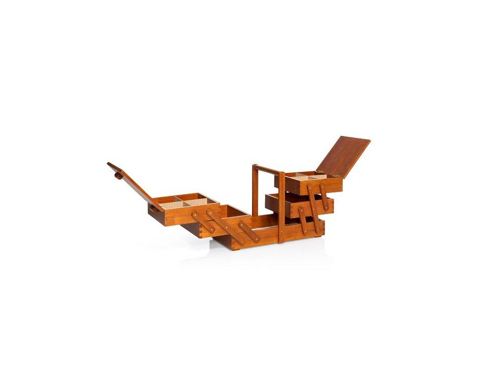 Kazeta na šití rozkládací tmavé dřevo L 612551