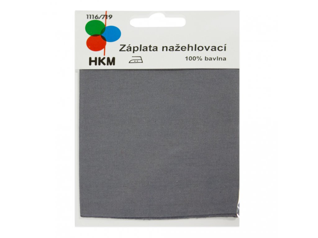 Nažehlovací záplata 100% bavlna - šedá
