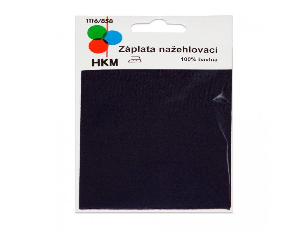Nažehlovací záplata 100% bavlna - tmavě modrá