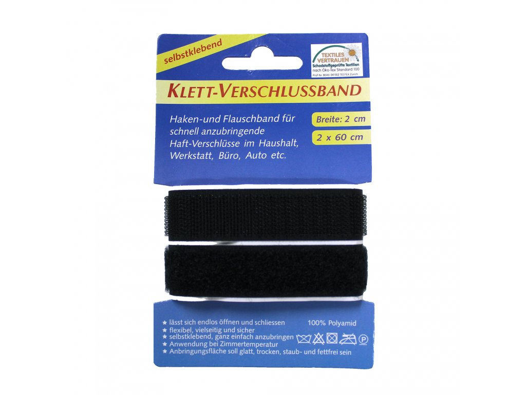 Suchy zip samolepící černý šířka 20mm bal 60cm