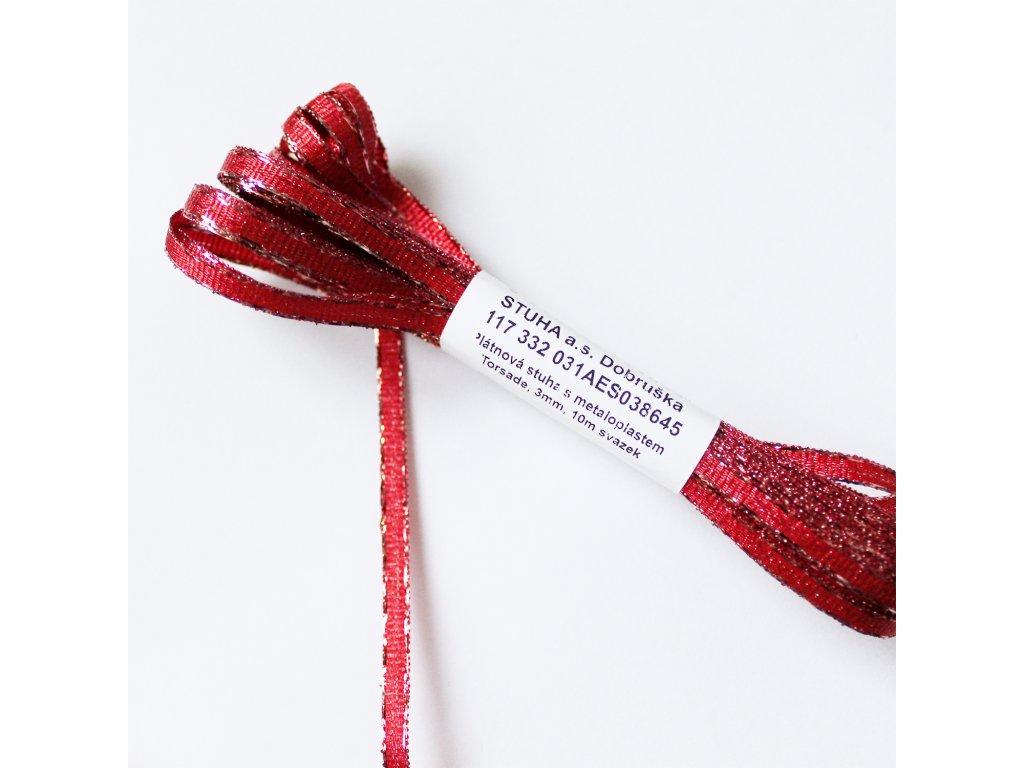Stuha s lurexem šíře 3mm červená 1