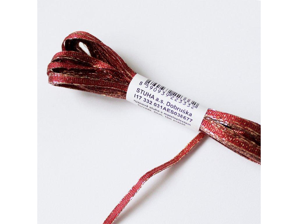 Stuha s lurexem šíře 3mm červená 2