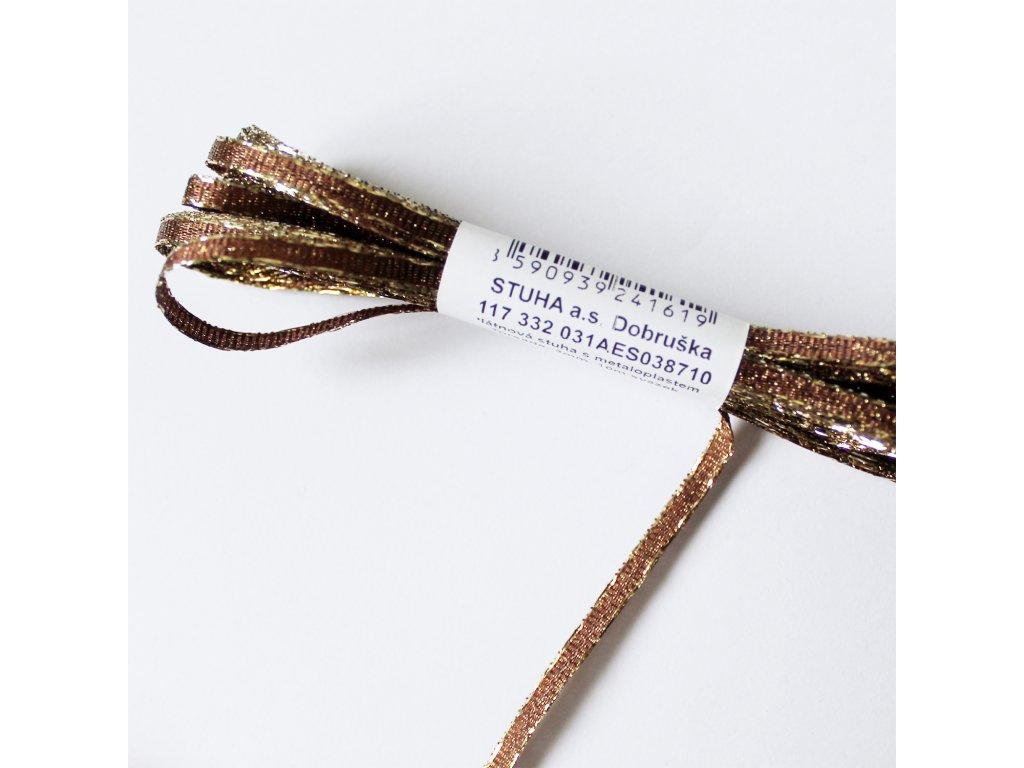 Stuha s lurexem šíře 3mm hnědá 1