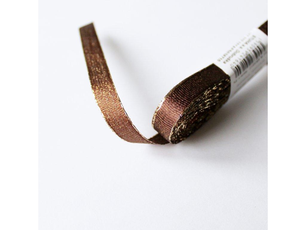 Stuha s lurexem šíře 10mm hnědá 1