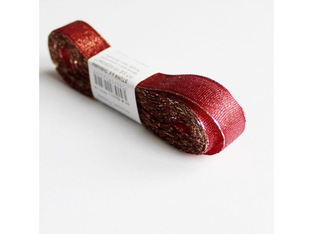 Stuha s lurexem šíře 15mm červená 2