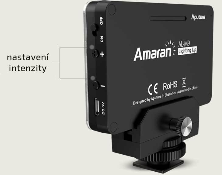 film-technika-aputure-amaran-al-m9-opravdu-malé-kamerové-led-světlo-snadné-nastavení-intenzity