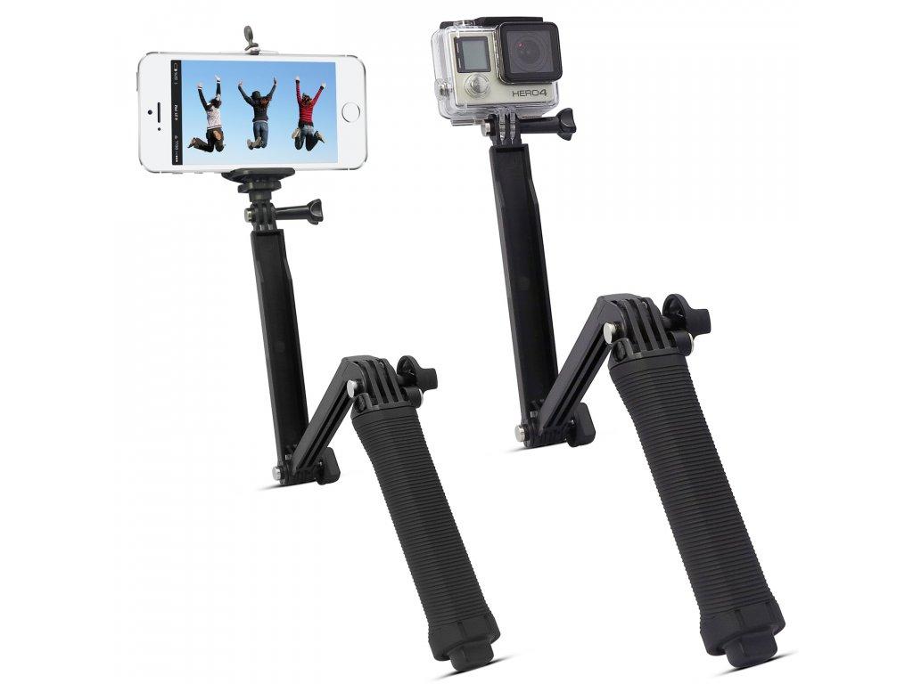 Skládací rukojeť pro sportovní kamery a smartphony