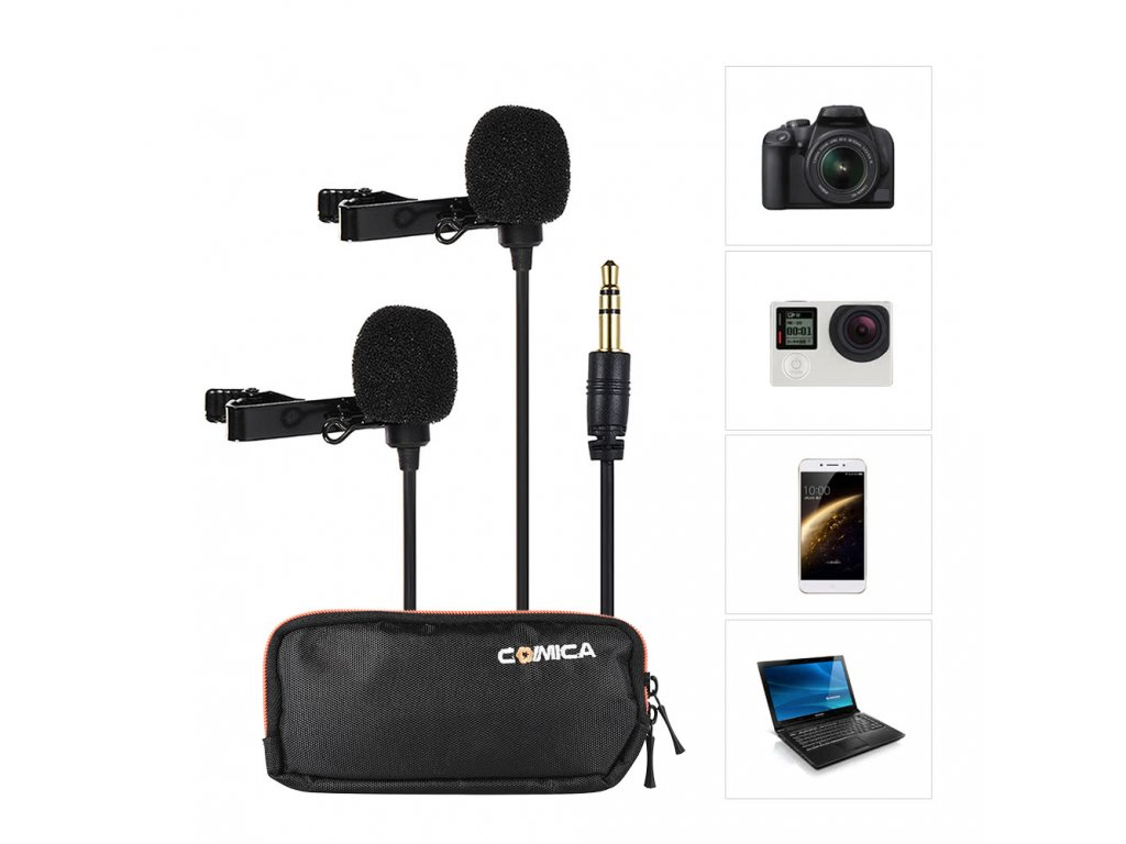 comica cvm d02 2 5m 8 2ft dual head lavalier lapel microphone 57295