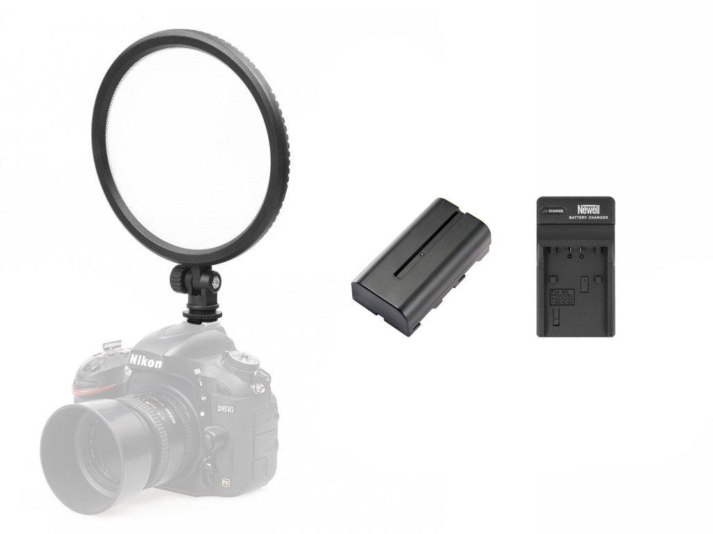 Video světlo LED 13W 3200-5600K + baterie, nabíječka