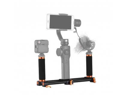Andoer Stabilizer Dual Handheld Grip Bracket Kit Gimbal Handle 1 4 Inch Screw Mounts Extended Handle (2)a