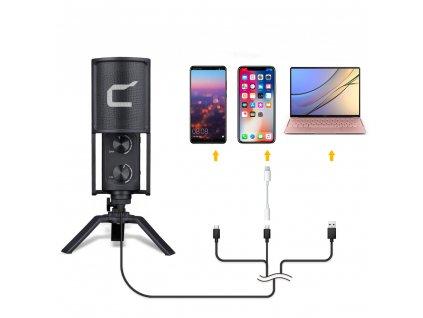 Comica STM-USB stolní kondenzátorový mikrofon pro podcasty, youtube videa, zpěv