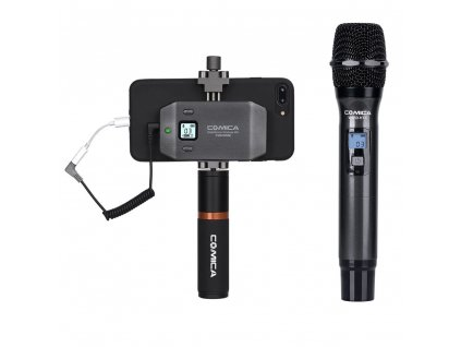 CoMica CVM WS50H Handheld Wireless Microphone for Smartphone 6Channels 60M Working Range Precise Control Video Interview (2)