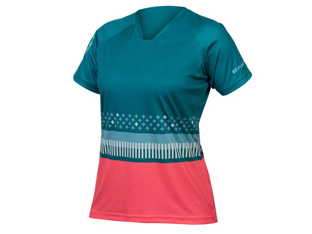 Dámský dres Endura SingleTrack Print T, Smrkově zelená
