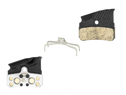 Brzdové destičky Shimano N04C kovové,s pružinou+chladič