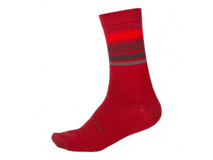 Endura Ponožky Merino Stripe, Červená