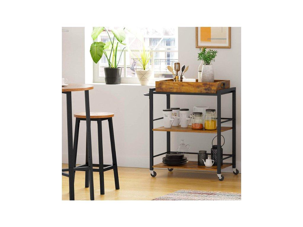 Kuchyňský vozík VASAGLE s odnímatelným podnosem