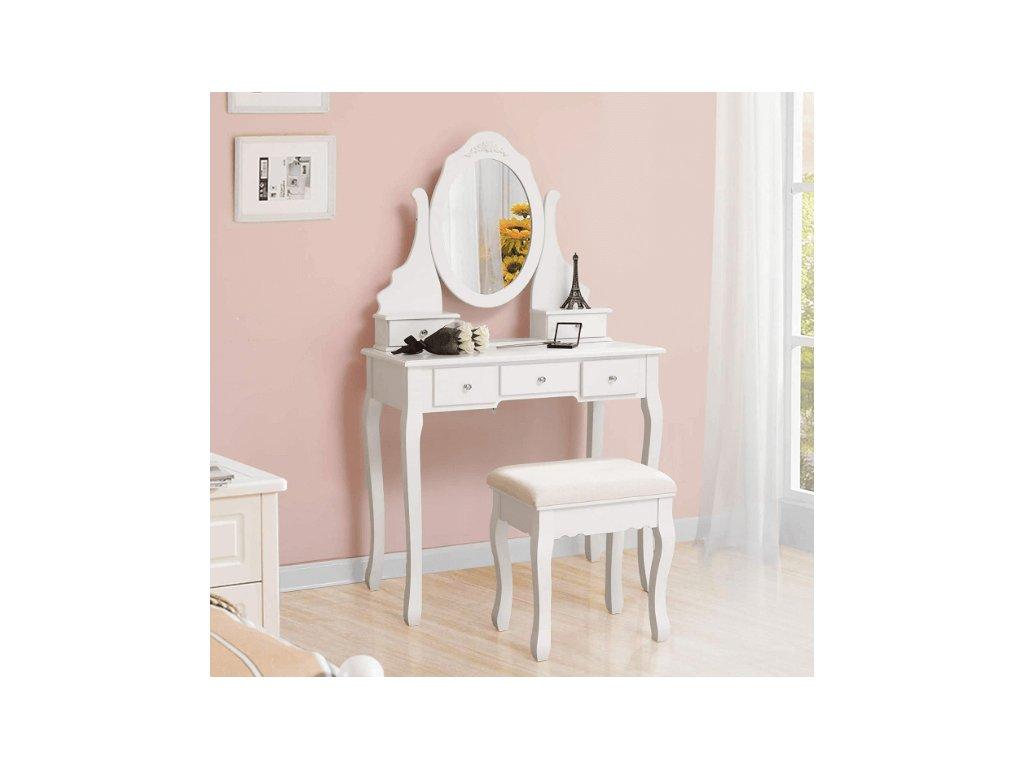 Bílý toaletní stolek se zrcadlem