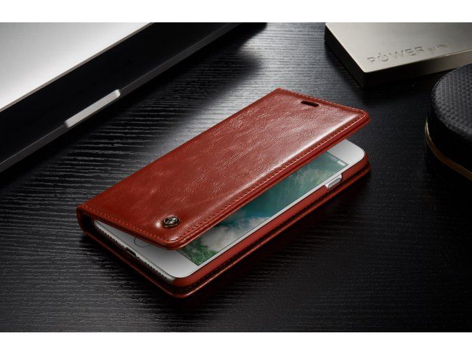 Kožené pouzdro CaseMe Wallet Red iPhone 7 Plus/8 Plus