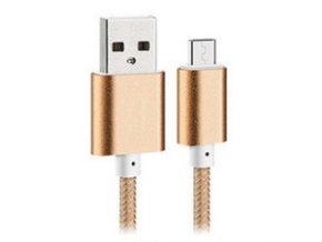 Bastec Nylon USB-micro kabel zlatý