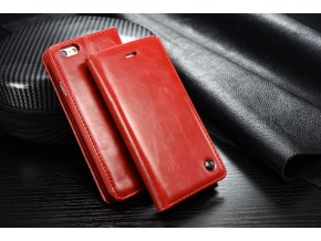 Kožené pouzdro CaseMe Wallet Red iPhone 6/6S Plus