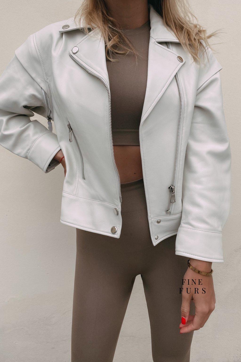 Kožená dámská bunda bílá