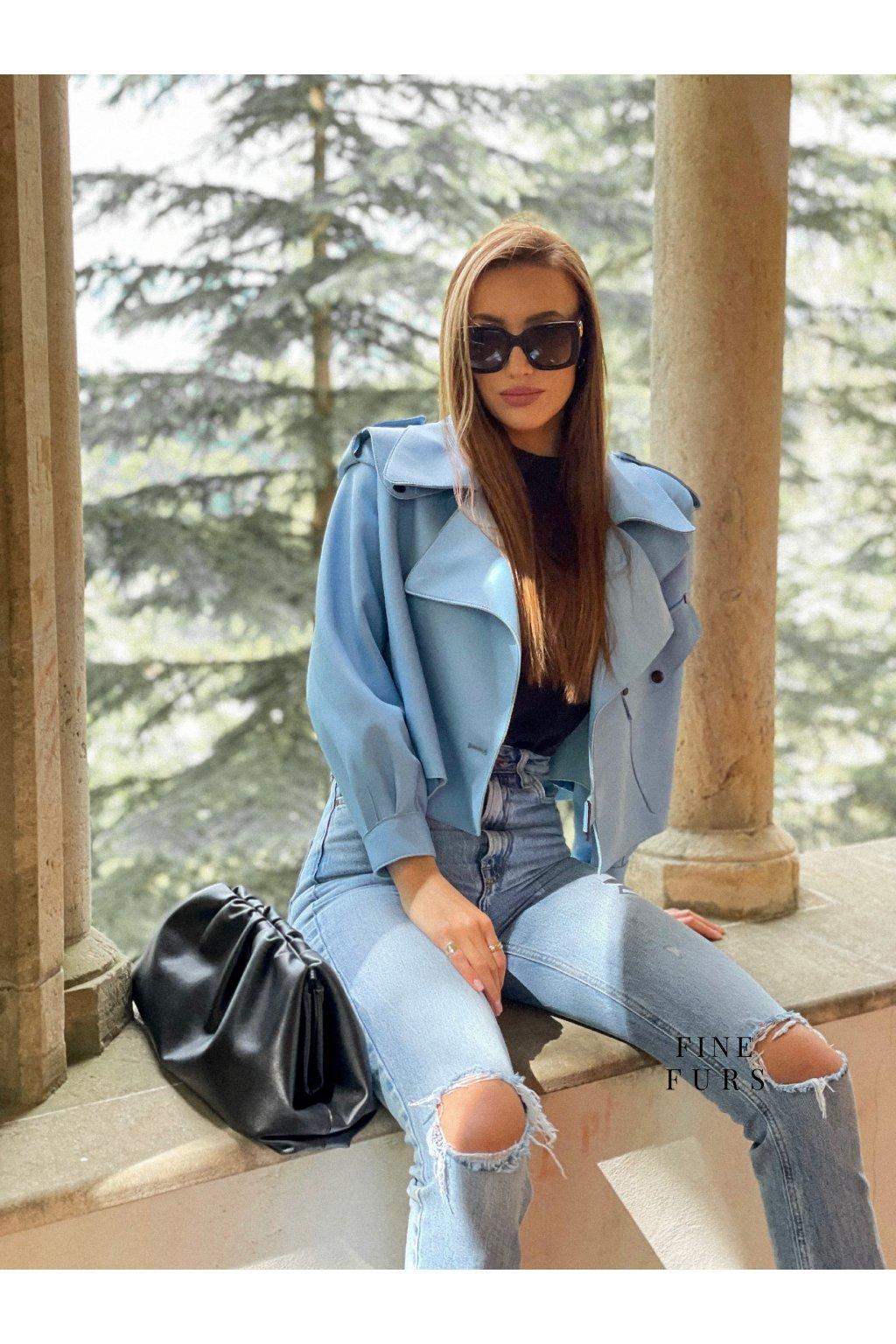 Novinka - kožená bunda Sofi v modré barvě