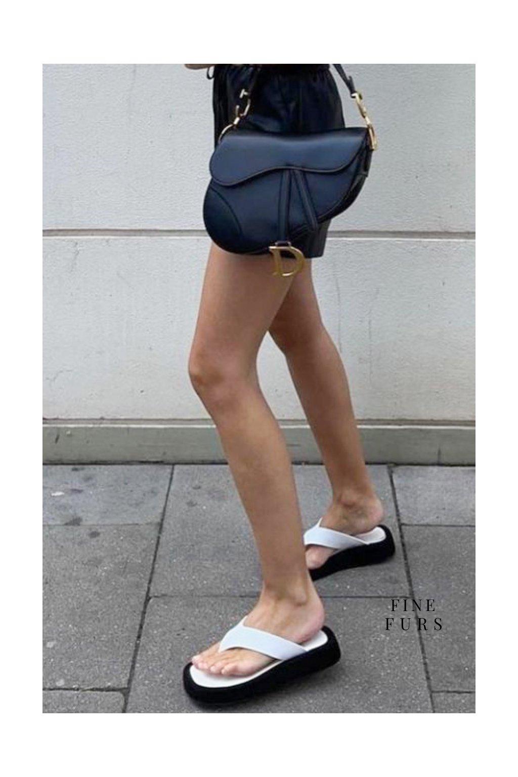 Kožené sandálky - WHITE