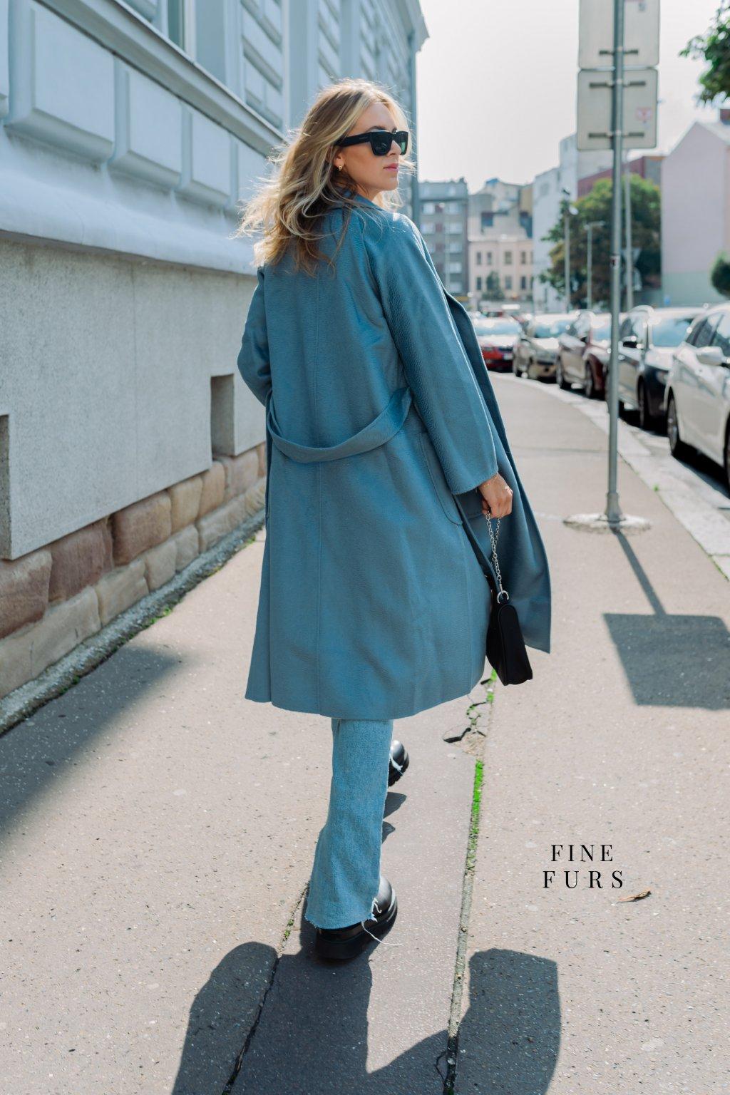 Kašmírový kabát - BABY BLUE