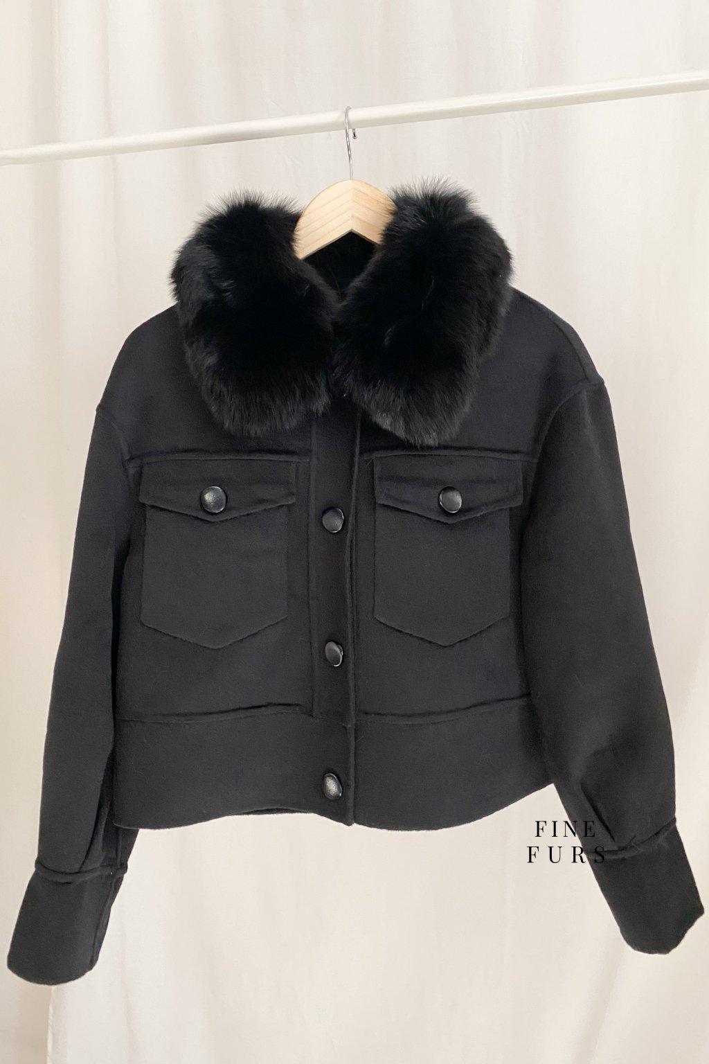 Kašmírový krátký kabát s kožešinou - BLACK
