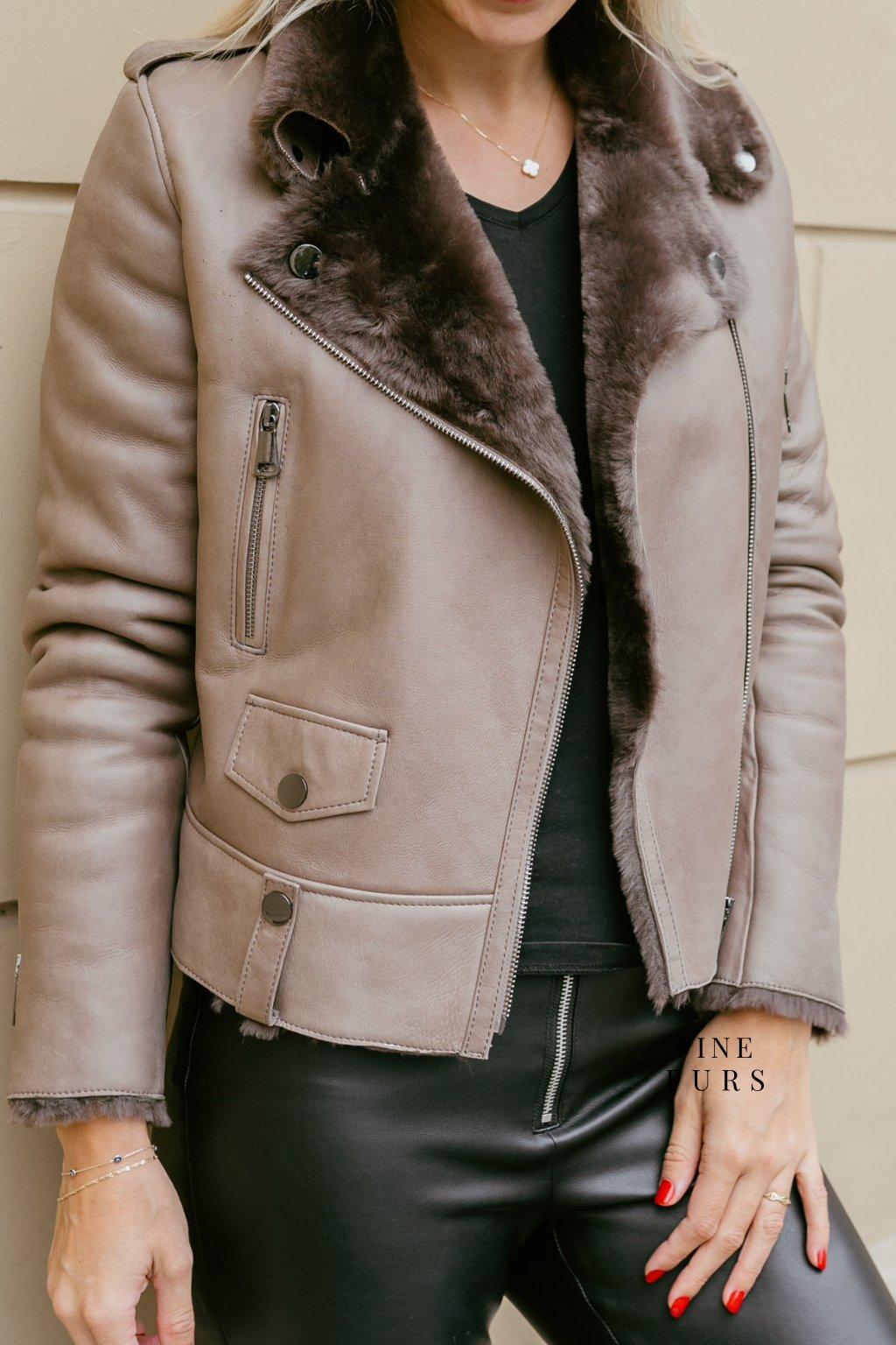Kožená bunda shearling - TAUPE