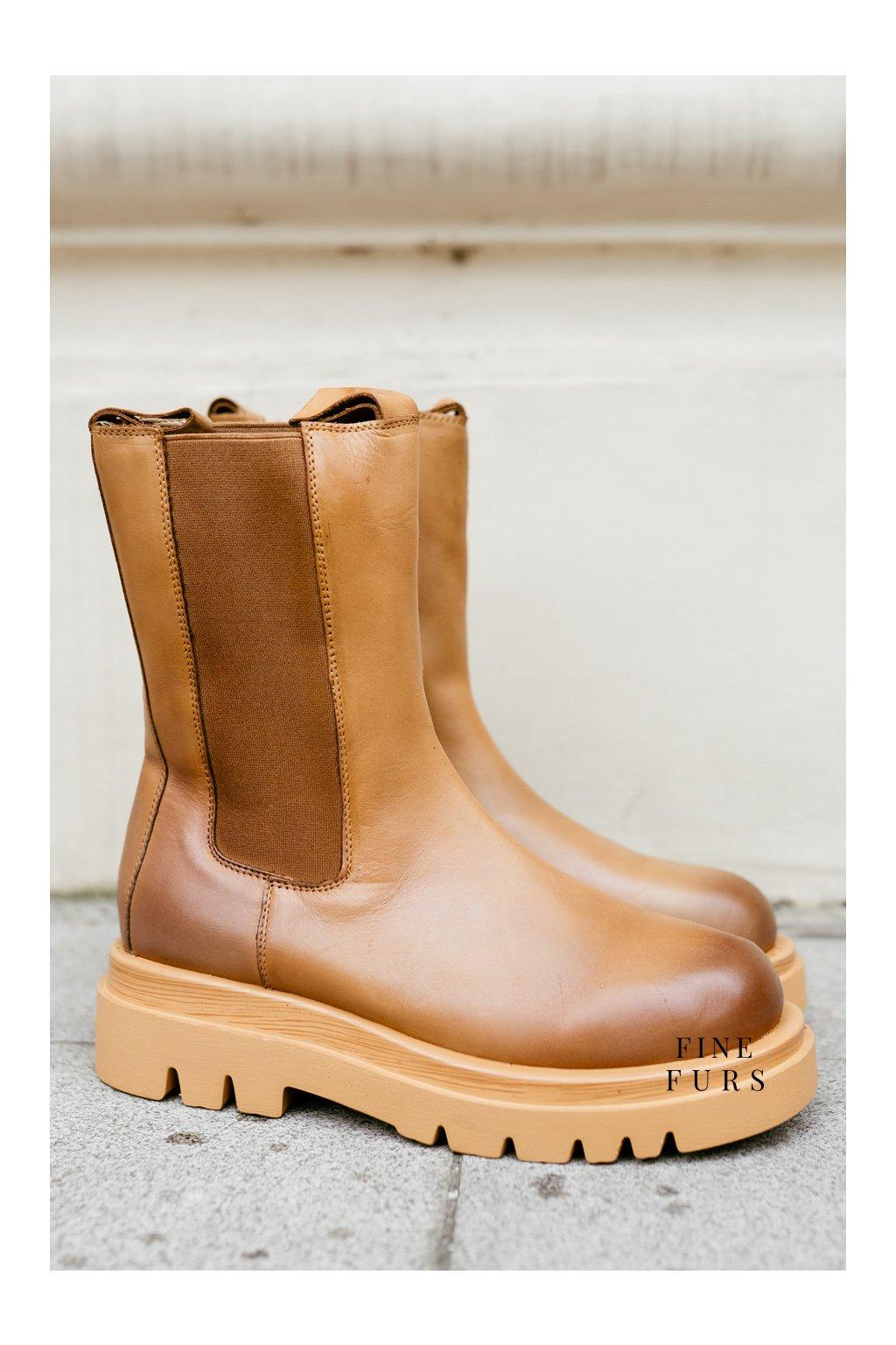 Kotníkové boty Kendall - CAMEL