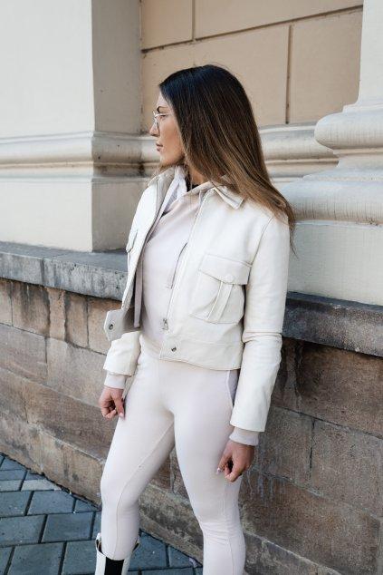 Kožená bunda dámská v krémové barvě