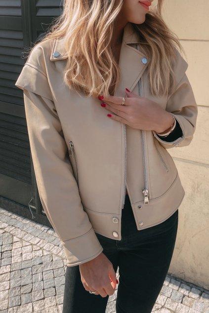 Kožená dámská bunda béžová