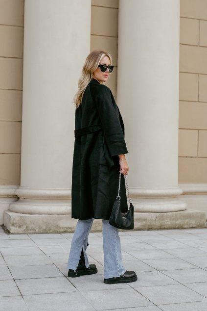Kašmírový kabát - BLACK