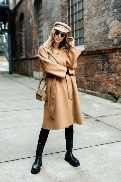 Kašmírový kabát - CAMEL
