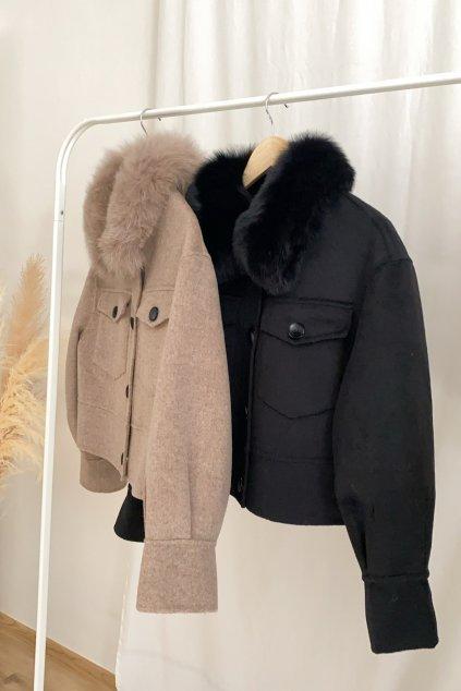 Kašmírový krátký kabát s kožešinou - MOCCA