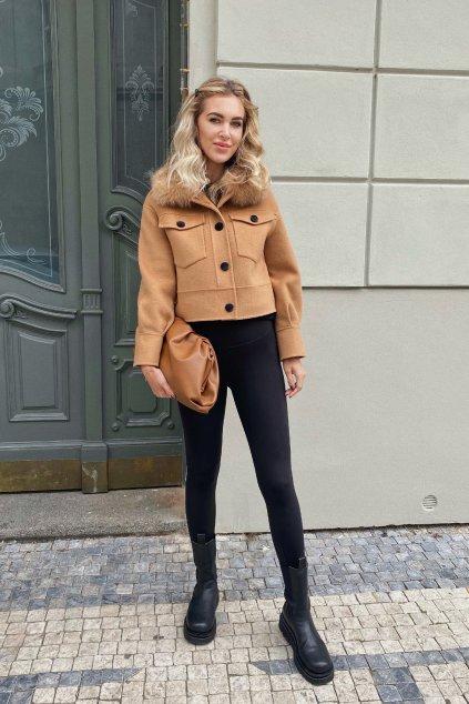 Kašmírový krátký kabát s kožešinou - CAMEL