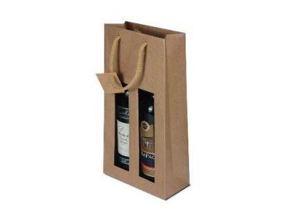 papírová taška na 2 lahve s okénkem