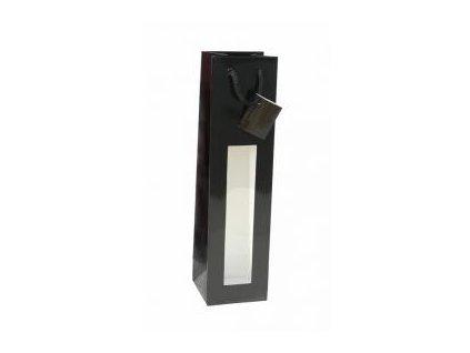 papírová taška na víno s okénkem lesklá