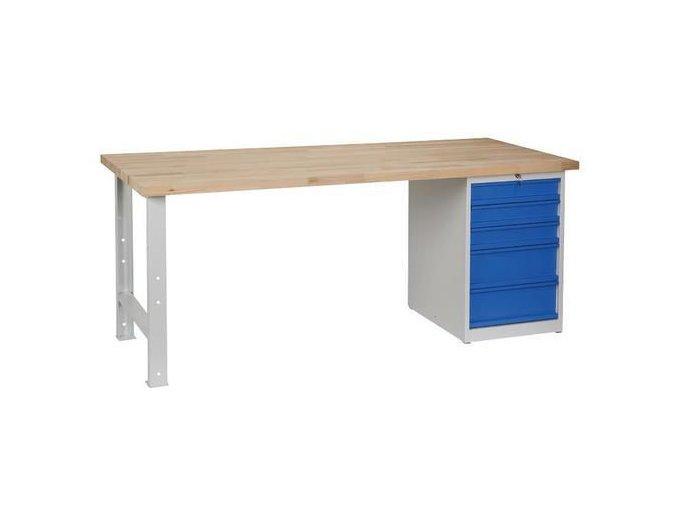 Dílenské stoly Weld, 84 x 200 x 80 cm, 5 zásuvek, nosnost 500 kg