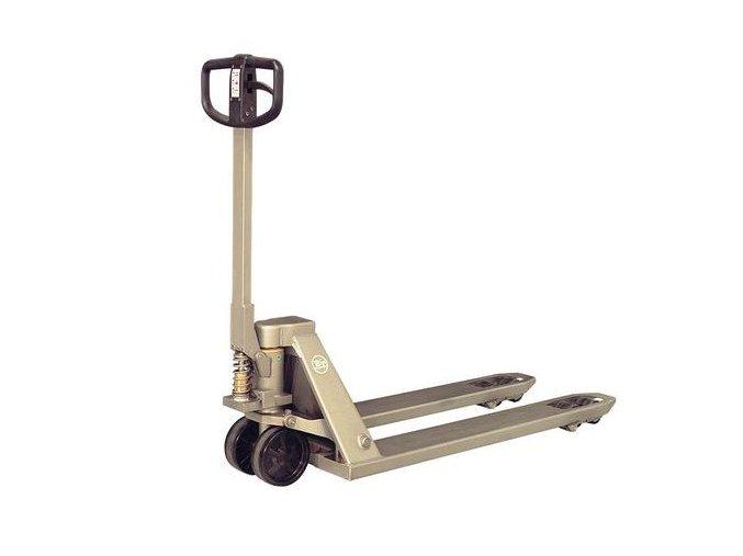 Nerezový paletový vozík pro vlhká prostředí BT LHM200STN, do 2 000 kg, nylonová řídicí kola