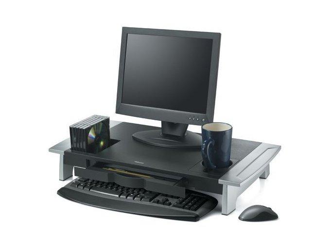 Podstavec pod monitor se zásuvkou a odkládacími prostory
