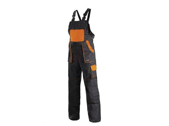 Pánské montérkové kalhoty CXS Luxy s laclem, černé/oranžové
