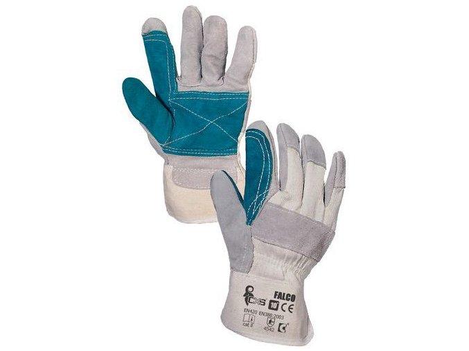 Kožené rukavice CXS se zvýšenou odolností, bílé/zelené