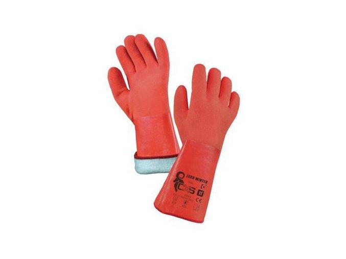 Zimní bavlněné rukavice CXS máčené v PVC, červené