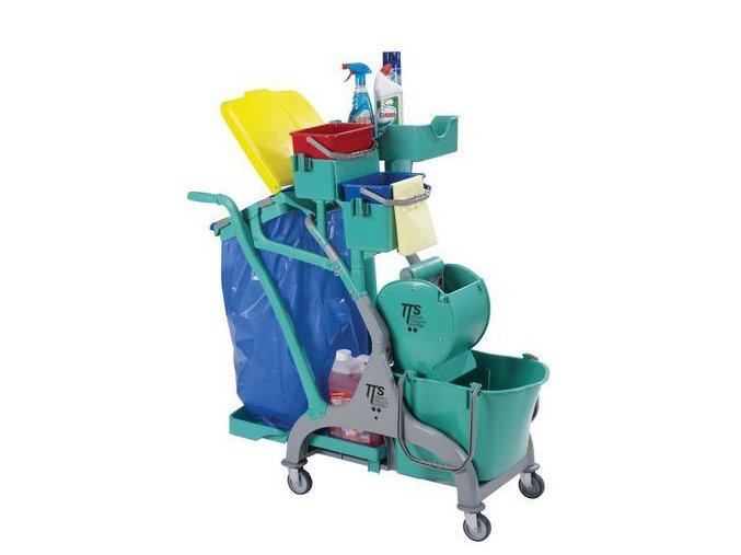 Úklidový vozík s válečkovým ždímačem, objem 15 l